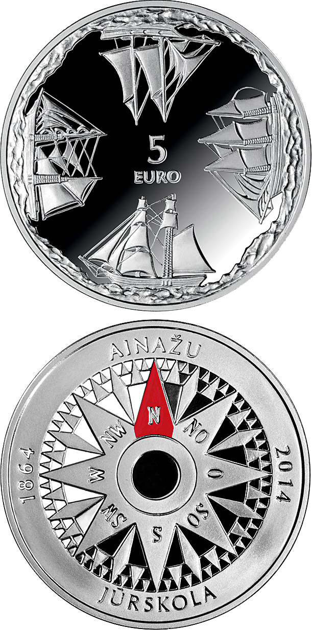 Image of 5 euro coin 150th anniversary of Ainaži Nautical School | Latvia 2014.  The Silver coin is of Proof quality.