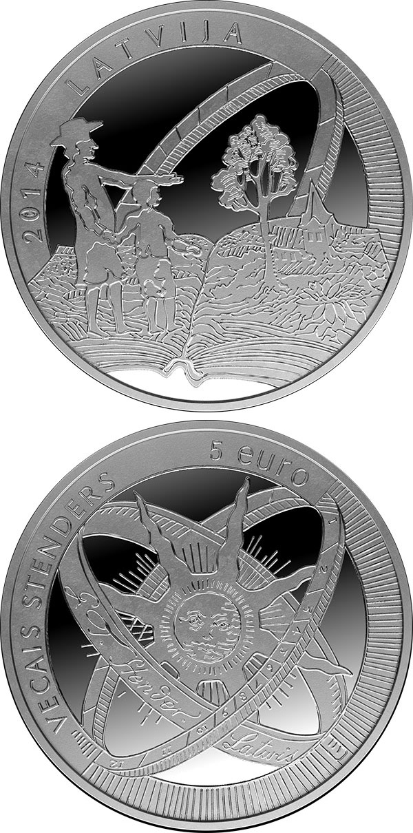 Image of 5 euro coin - Old Stenders | Latvia 2014.  The Silver coin is of Proof quality.