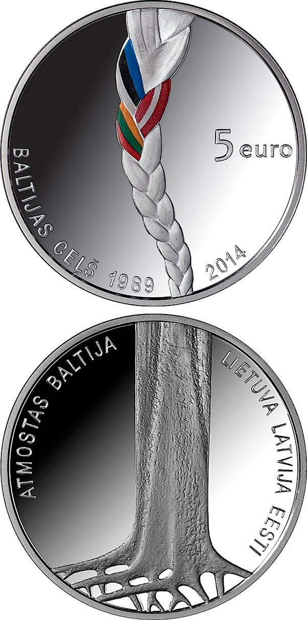 Image of 5 euro coin - Baltic Way | Latvia 2014.  The Silver coin is of Proof quality.