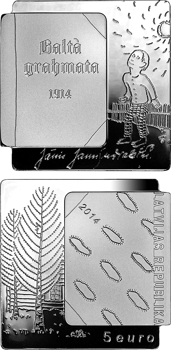 Image of 5 euro coin - The White Book | Latvia 2014.  The Silver coin is of Proof quality.