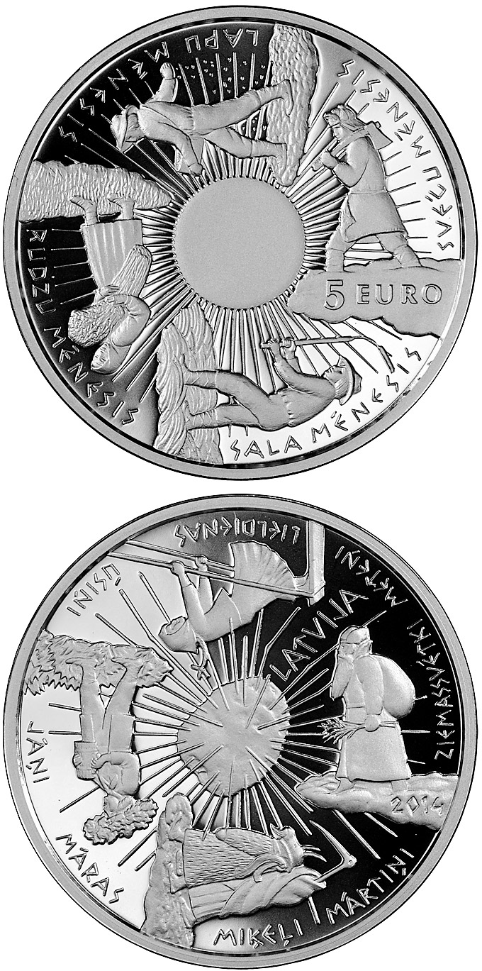 Image of 5 euro coin - Coin of the Seasons | Latvia 2014.  The Silver coin is of Proof quality.