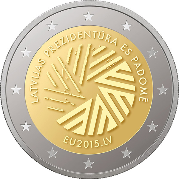 2 lats Presidency of the Council of the European Union - 2015 - Series: Commemorative 2 euro coins - Latvia