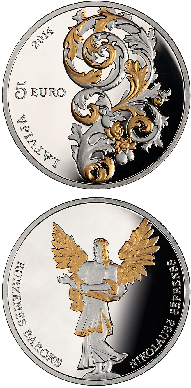 Image of 5 euro coin - Baroque of Courland | Latvia 2014.  The Silver coin is of Proof quality.
