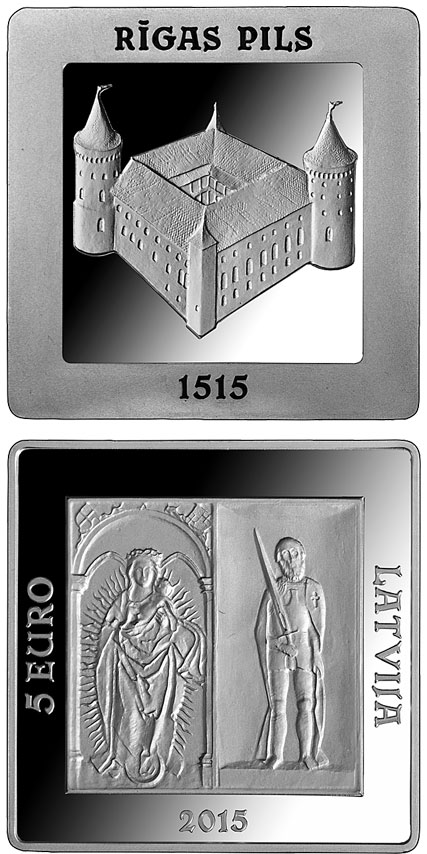 Image of 5 euro coin - 500 Years of the Riga Castle | Latvia 2015.  The Silver coin is of Proof quality.