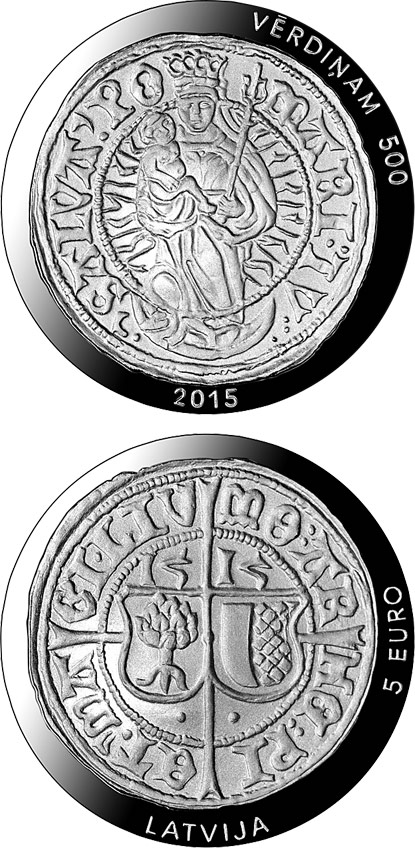 Image of 5 euro coin - 500 years of Livonian ferding | Latvia 2015.  The Silver coin is of Proof quality.