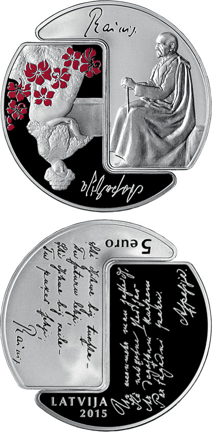 Image of 5 euro coin - Rainis and Aspazija | Latvia 2015.  The Silver coin is of Proof quality.