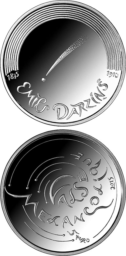 Image of 5 euro coin - Valse Mélancolique | Latvia 2015.  The Silver coin is of Proof quality.