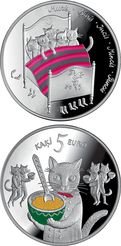 5 euro Fairy tale coin I. Five cats - 2015 - Series: Silver 5 euro coins - Latvia
