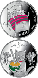 5 euro coin Fairy tale coin I. Five cats | Latvia 2015