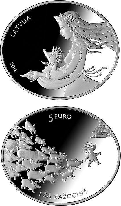 Image of 5 euro coin - Fairy Tale Coin II. Hedgehog's Coat | Latvia 2016.  The Silver coin is of Proof quality.
