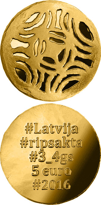 Image of 5 euro coin Gold Brooches | Latvia 2016.  The Gold coin is of Proof quality.