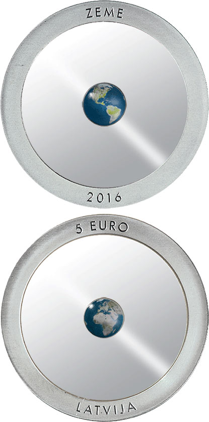 Image of 5 euro coin - The Earth | Latvia 2016.  The Silver coin is of Proof quality.