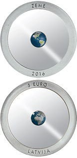 5 euro coin The Earth | Latvia 2016