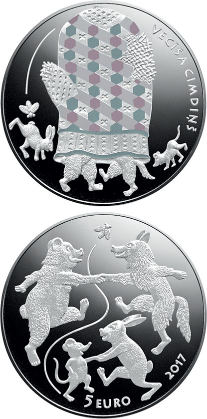 Image of 5 euro coin - Fairy Tale Coin III. The Old Man's Mitten | Latvia 2017.  The Silver coin is of Proof quality.