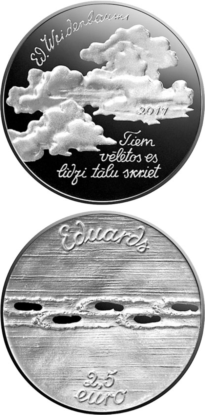 Image of 2.5 euro coin - Eduards Veidenbaums | Latvia 2017.  The Silver coin is of Proof quality.