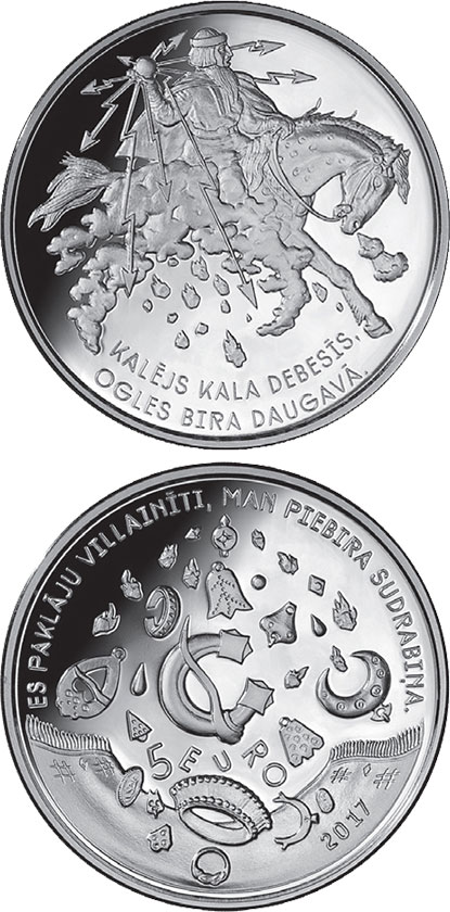 Image of 5 euro coin - Smith forges in the sky | Latvia 2017.  The Silver coin is of Proof quality.