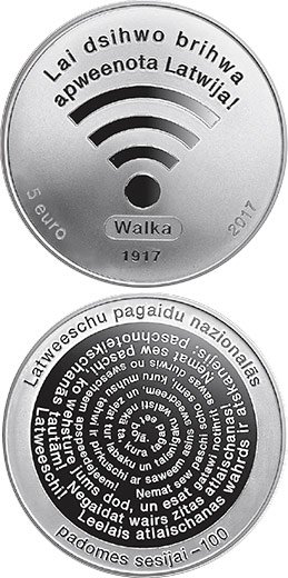 Image of 5 euro coin - The First Session of LPNC | Latvia 2017.  The Silver coin is of Proof quality.