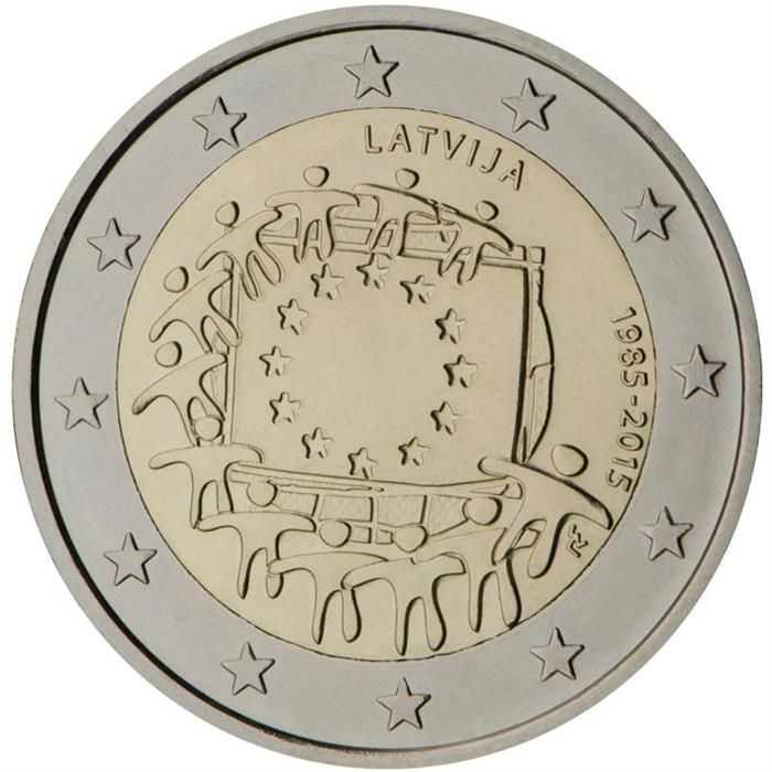 Image of 2 euro coin - The 30th anniversary of the EU flag | Latvia 2015