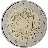 2 euro coin The 30th anniversary of the EU flag | Latvia 2015