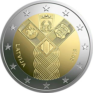 Image of 2 euro coin - 100th Anniversary of the Baltic States | Latvia 2018