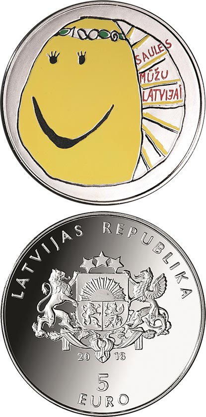 Image of 5 euro coin – My Latvia | Latvia 2018.  The Silver coin is of Proof quality.