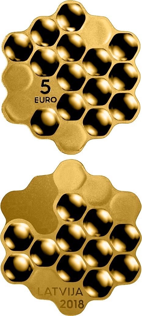 Image of 5 euro coin - Honey coin | Latvia 2018.  The Gold coin is of Proof quality.