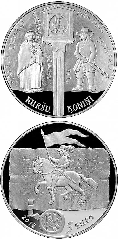 Image of 5 euro coin - Curonian kings | Latvia 2018.  The Silver coin is of Proof quality.