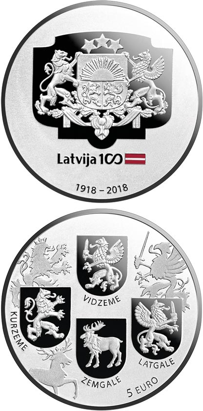 Image of 5 euro coin - Coats of Arms | Latvia 2018.  The Silver coin is of Proof quality.