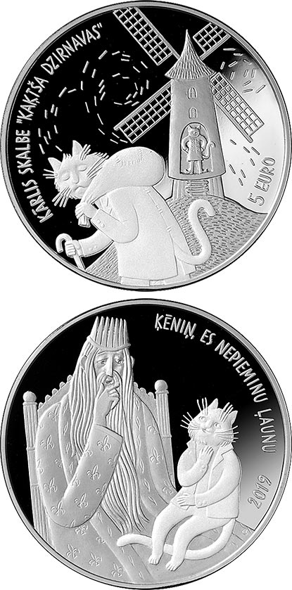 Image of 5 euro coin - Cat's Mill | Latvia 2019.  The Silver coin is of Proof quality.