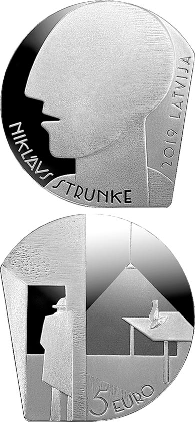 Image of 5 euro coin - Niklāvs Strunke | Latvia 2019.  The Silver coin is of Proof quality.