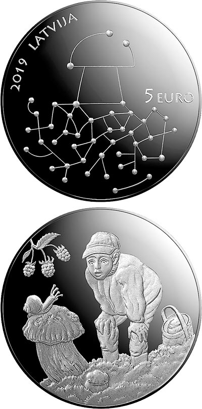 Image of 5 euro coin - Gifts of the Forest | Latvia 2019.  The Silver coin is of Proof quality.