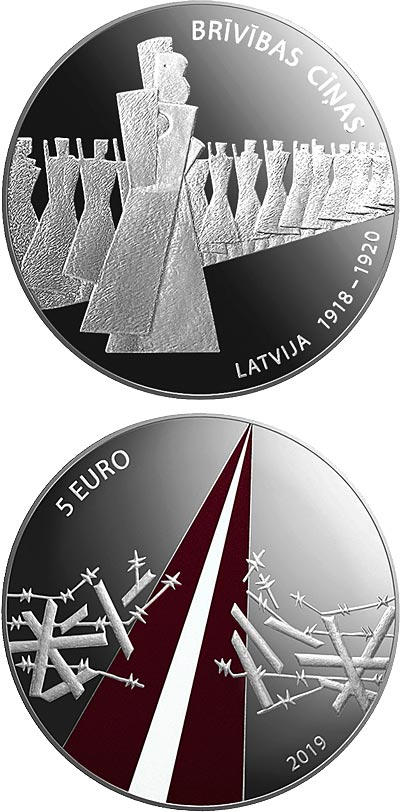 Image of 5 euro coin - Freedom Fights (1918-1920) | Latvia 2019.  The Silver coin is of Proof quality.
