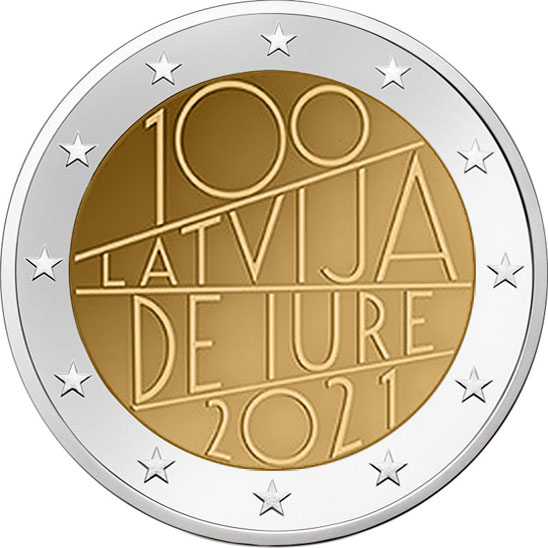Image of 2 euro coin - 100th anniversary of de iure recognition of Latvia | Latvia 2021
