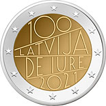 2 euro coin 100th anniversary of de iure recognition of Latvia | Latvia 2021