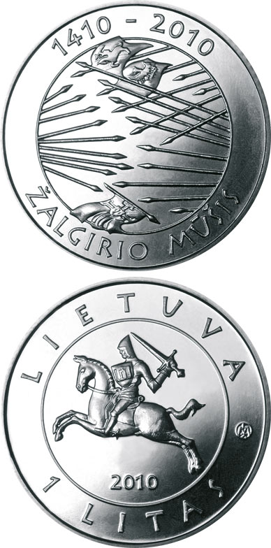Image of 1 litas coin – 600th anniversary of the Grünwald Battle | Lithuania 2010.  The Copper–Nickel (CuNi) coin is of UNC quality.