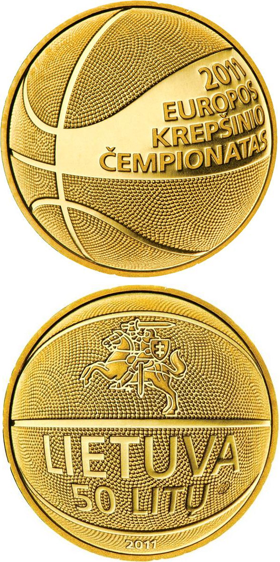 Image of 50 litas coin – European Basketball Championship 2011  | Lithuania 2011.  The Gold coin is of Proof quality.
