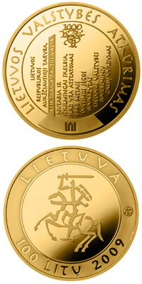 Image of 100 litas coin – The millennium anniversary of the mention of the name of Lithuania  | Lithuania 2009.  The Gold coin is of Proof quality.