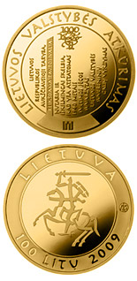 100 litas coin The millennium anniversary of the mention of the name of Lithuania  | Lithuania 2009