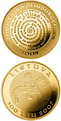 Image of The millennium anniversary of the mention of the name of Lithuania  – 100 litas coin Lithuania 2007.  The Gold coin is of Proof quality.