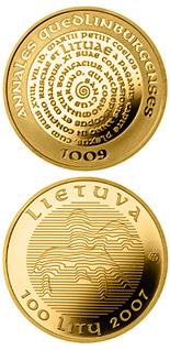 100 litas coin The millennium anniversary of the mention of the name of Lithuania  | Lithuania 2007