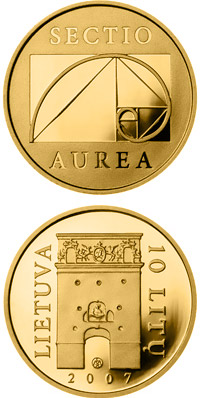 Image of 10 litas coin - Gate of Dawn (Ostra Brama)  | Lithuania 2007.  The Gold coin is of Proof quality.