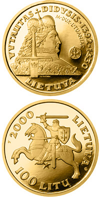 Image of 100 litas coin - Vytautas  | Lithuania 2000.  The Gold coin is of Proof quality.