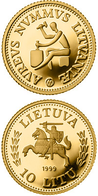 Image of 10 litas coin – History of Gold  | Lithuania 1999.  The Gold coin is of Proof quality.