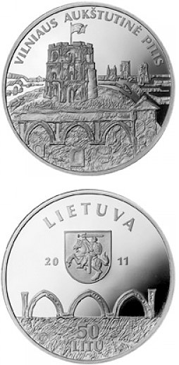 Image of 50 litas coin - Vilnius Upper Castle  | Lithuania 2011.  The Silver coin is of Proof quality.