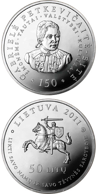 Image of a coin 50 litas | Lithuania | 150th birth Anniversary of Gabriele Petkevicaite-Bite  | 2011