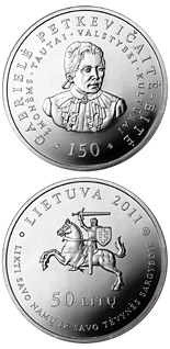 50 litas coin 150th birth Anniversary of Gabriele Petkevicaite-Bite  | Lithuania 2011