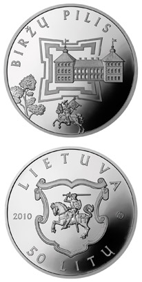 Image of 50 litas coin - Birzai Castle  | Lithuania 2010.  The Silver coin is of Proof quality.