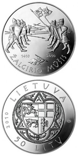 Image of 600th anniversary of the Grünwald Battle  – 50 litas coin Lithuania 2010.  The Silver coin is of Proof quality.