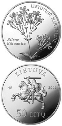 Image of 50 litas coin - Silene lithuanica  | Lithuania 2009.  The Silver coin is of Proof quality.