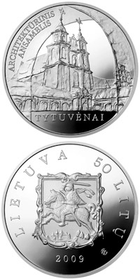 Image of 50 litas coin - Tytuvenai Architectural Ensemble  | Lithuania 2009.  The Silver coin is of Proof quality.